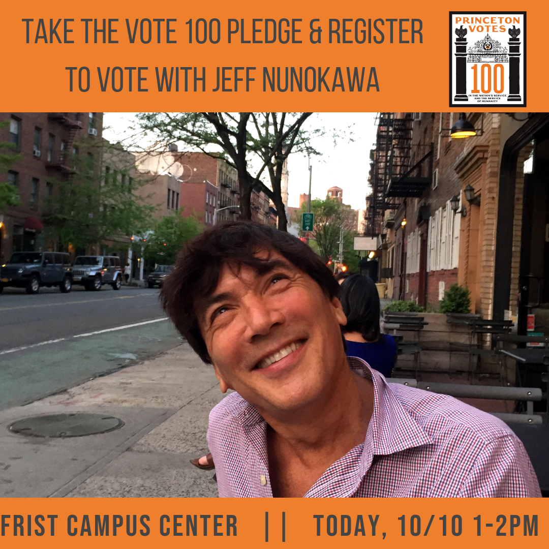 Advertisement for voter registration drive featuring professor Jeff Nunokawa, 2015.