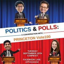 Promo graphic for politics & polls episode featuring vote 100 fellows